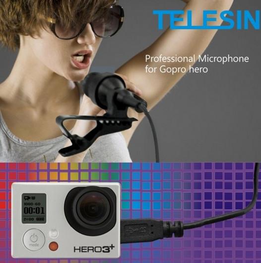 Microfone Telesin Mic Para Go Pro Hero 3,3+,4