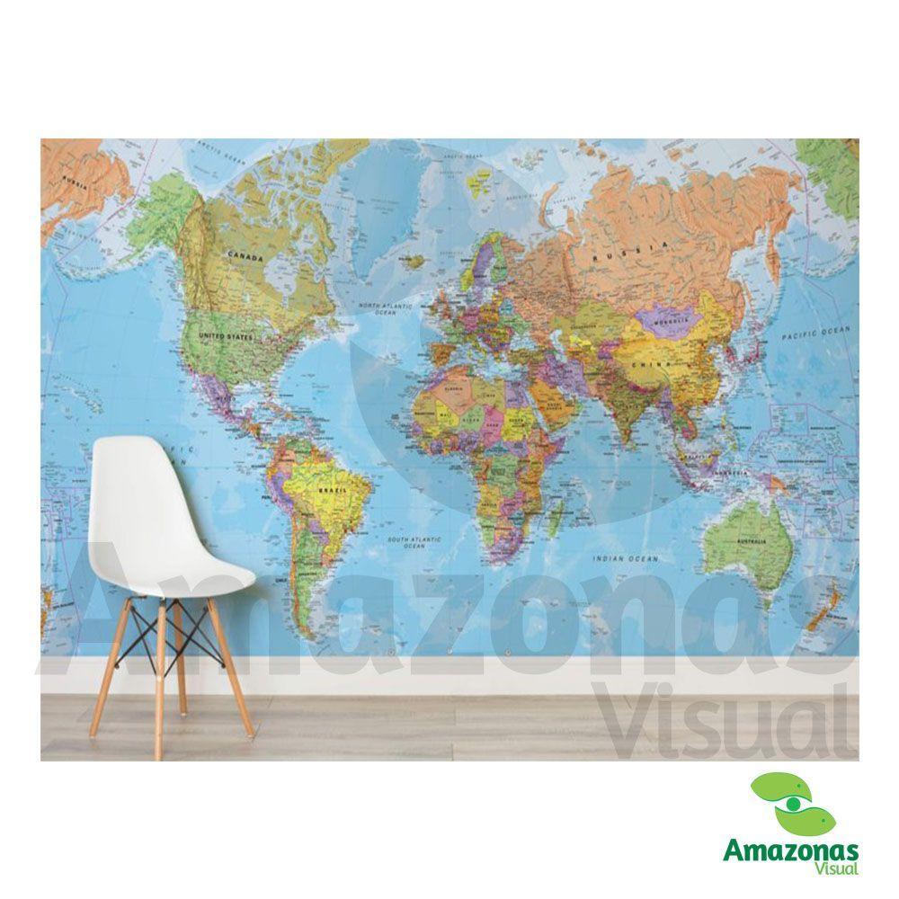 Adesivo para parede Mapa Mundi