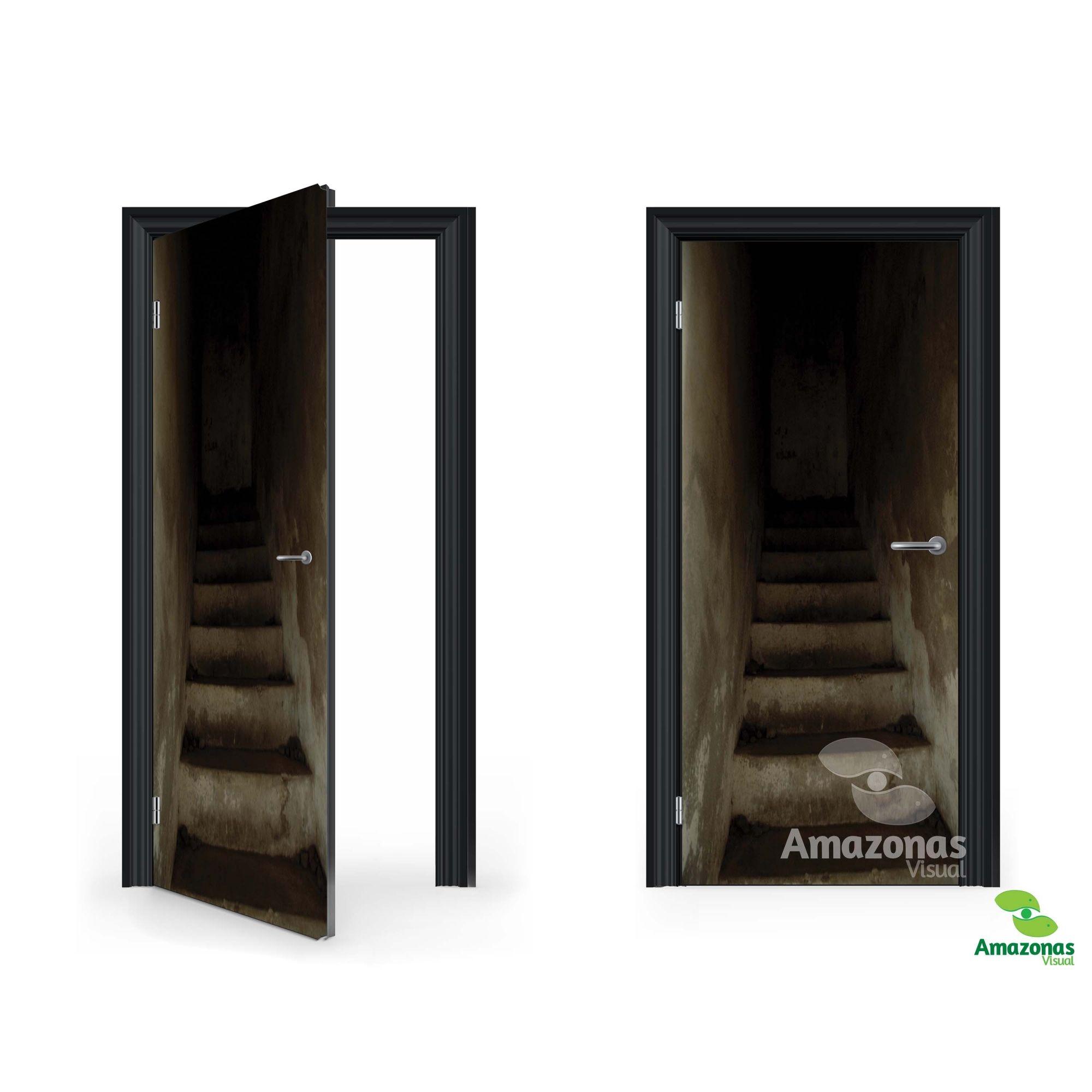 Adesivo para porta Escada 3D