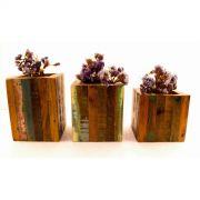 Trio De Cachepot Em Madeira De Demolição Medindo 0,10 x 0,10