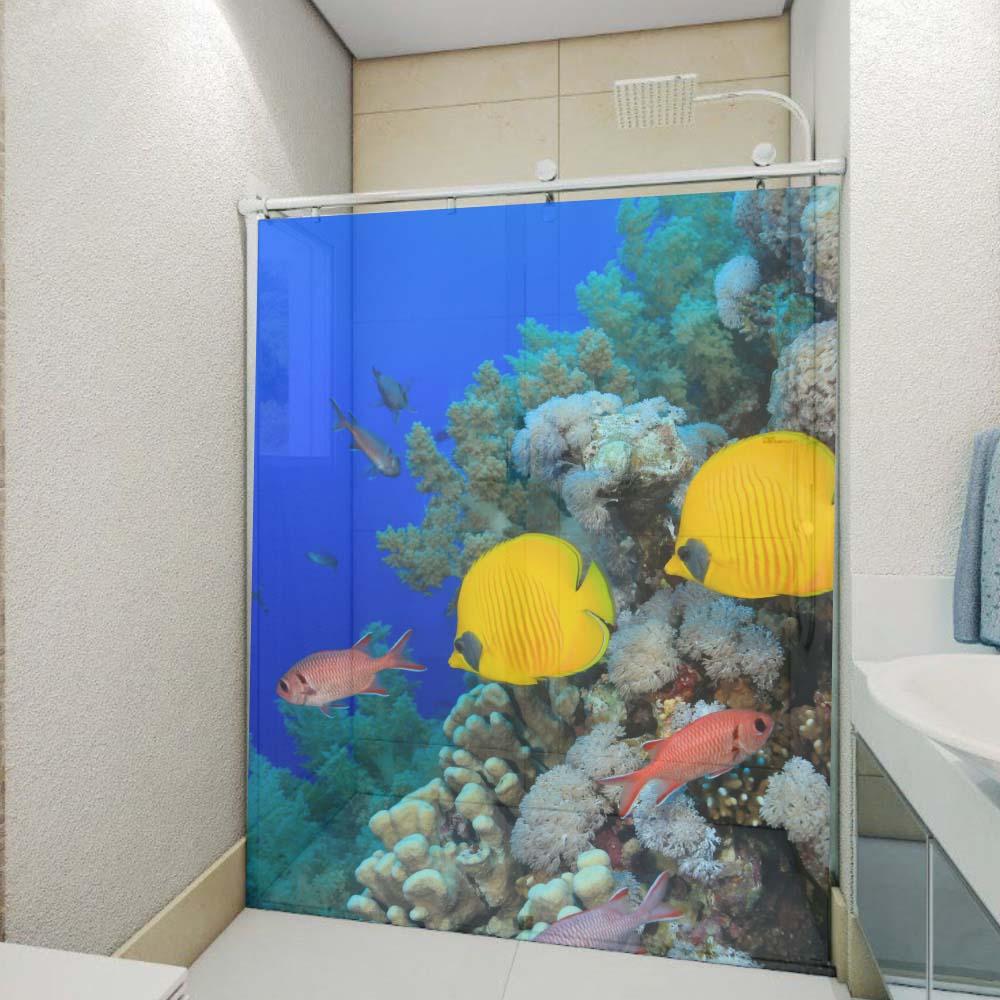 Artesanato Vila Do Conde ~ Adesivo Decorativo Para Box e Vidro 3D Fundo do Mar 1