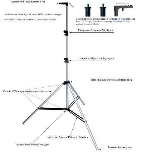 Tripé Pedestal P/ Telas De Projeção E Banners 4,1mts