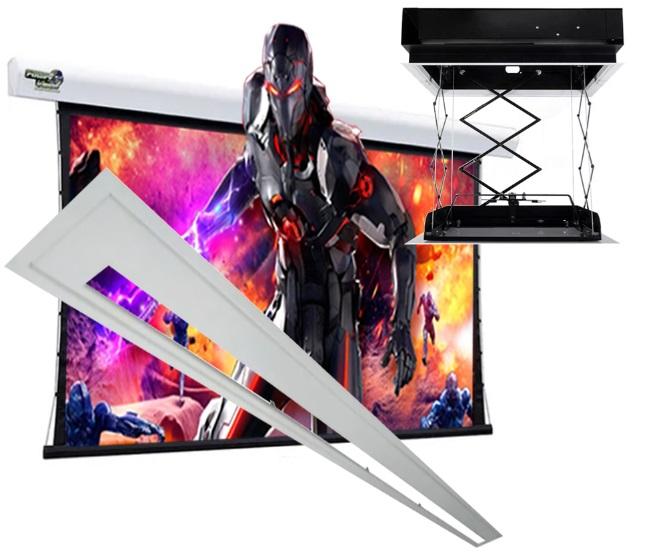 Kit Tela Projeção 100'' Widescreen 16:9, Moldura De Acabamento, Lift Modelo 32x32, e Sensor de Corrente Duplo