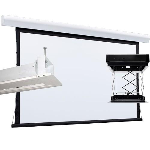 Kit Tela Projeção 133'' Widescreen 16:9, Moldura De Acabamento, Lift Modelo 44x44 com Sensor de Corrente Duplo