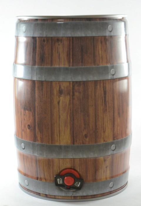 Mini Keg de 5L com Torneira  e Estampa que Imita Madeira