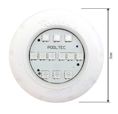 Kit Iluminação Piscina 1 Refletor Led Smd Mini Rgb + Comando