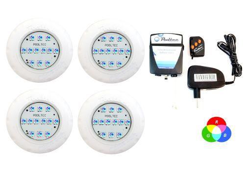 Kit Iluminação Piscina 4 Refletor Led Smd Mini Rgb + Comando