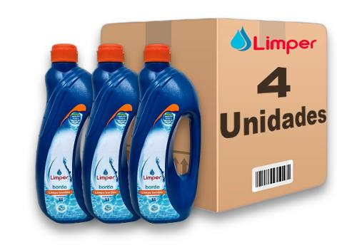 Algicida Limpa Borda Para Piscina Limper 1 Litro 4 Unidades
