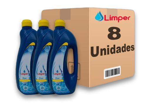 Algicida Floc Para Piscina Limper 1 Litro 8 Unidades