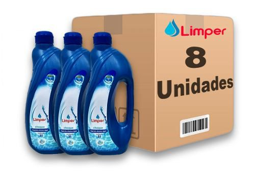 Algicida Choque Para Piscina Limper 1 Litro 8 Unidades
