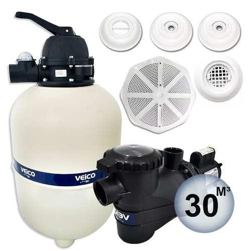 Kit Completo Para Piscina Filtro V-30 Bomba 1/3 Cv Veico Até 30 Mil Litros + Dispositivos