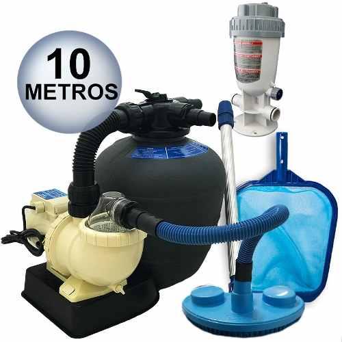 Kit Limpeza Para Piscinas Filtro Fms 13 + Bomba 1/3 Cv 34 M³ Sodramar + Assessórios