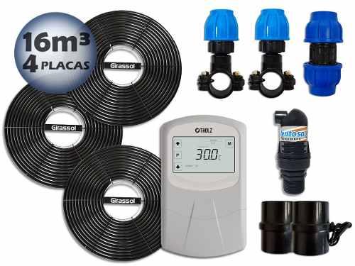 Aquecedor Solar Para Piscinas Ate 16m³ 4 Placas G1 Girassol + Controlador de Temperatura - Tholz