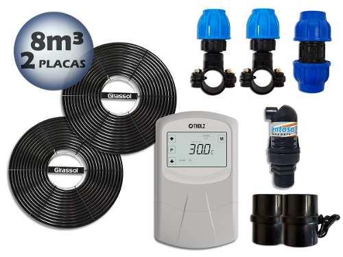 Aquecedor Solar Para Piscinas Ate 8m³ 2 Placas G1 Girassol + Controlador de Temperatura - Tholz