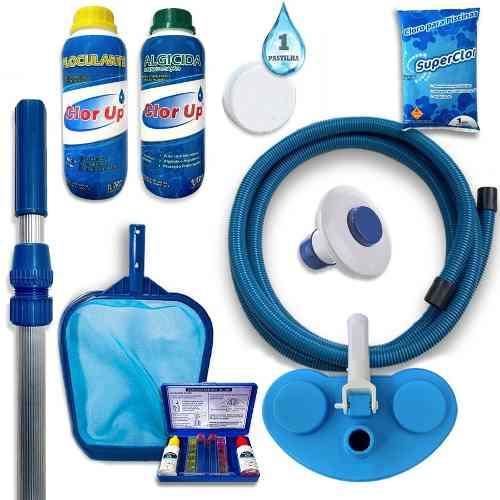 Kit Completo Para Limpeza Piscina Escova Aspirador Peneira Mangueira 6m Estojo Teste Floculante