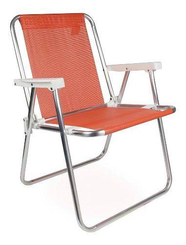 Cadeira Para Praia Piscina Dobrável Em Alumínio Mor Coral