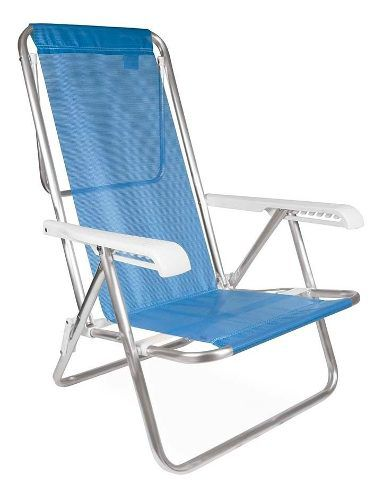 Cadeira Praia Piscina Reclinável Alumínio Mor 8 Posições Azul
