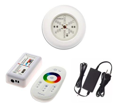 Kit Iluminação Para Piscina 1 Led 6w Colorido Rgb + Comando Touch