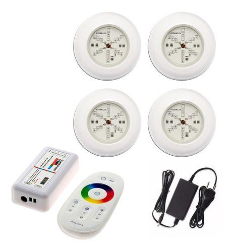 Kit 4 Led Refletor Luminária Colorido Para Piscina + Comando Touch