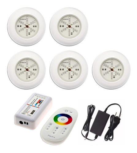 Kit 5 Led 6w Refletor Luminária Rgb Para Piscina + Comando