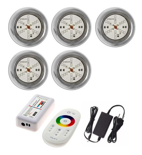 Kit Led Para Piscinas 5 Refletor 6w Rgb Inox + Comando Touch