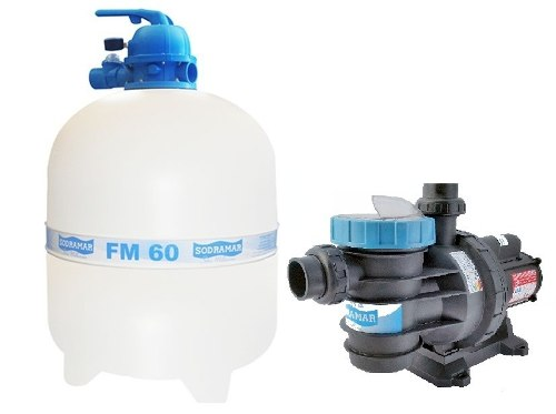 Kit Filtro Para Piscina Modelo Fm 60 + Bomba Bm 100 Motor Weg 1,0 Cv Sodramar
