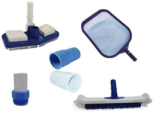 Kit Limpeza Para Piscina com Aspirador, Peneira, Escova, Adaptador e Ponteira