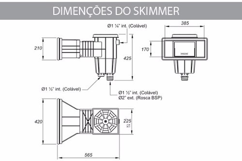 Skimmer Boca Larga Cinza Sodramar Para Piscina de Alvenaria, Fibra e Vinil