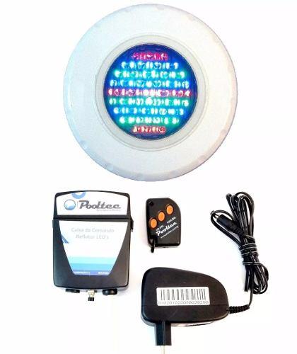 Kit Iluminação Para Piscinas 1 Refletor Led 45 ABS RGB (Colorido) + Comando com Controle Remoto e Fonte