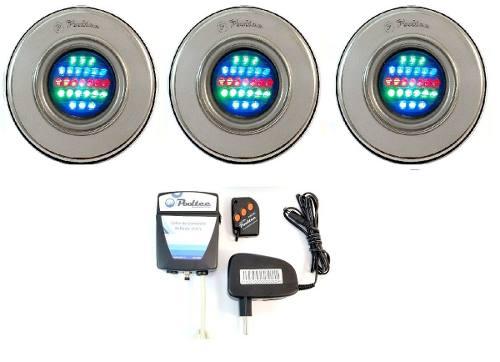 Kit Iluminação Piscina 3 Refletor Led 25 Colorido + Comando