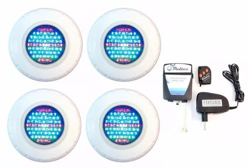 Kit Refletor para Piscina 4 Led 45 Colorido + Comando Pooltec