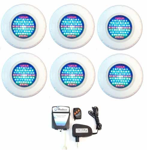 Kit Refletor para Piscina 6 Led 45 Colorido + Comando Pooltec