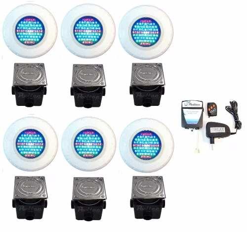 Kit Refletor para Piscina 6 Led 45 Rgb + Comando + Caixa Passagem