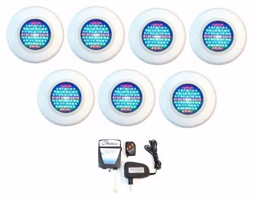 Kit Refletor para Piscina 7 Iluminação Led 45 Colorido + Comando Pooltec