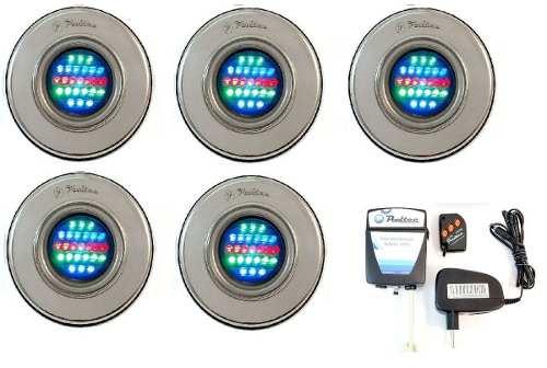 Kit Iluminação Piscina 5 Refletor Led 25 Colorido + Comando