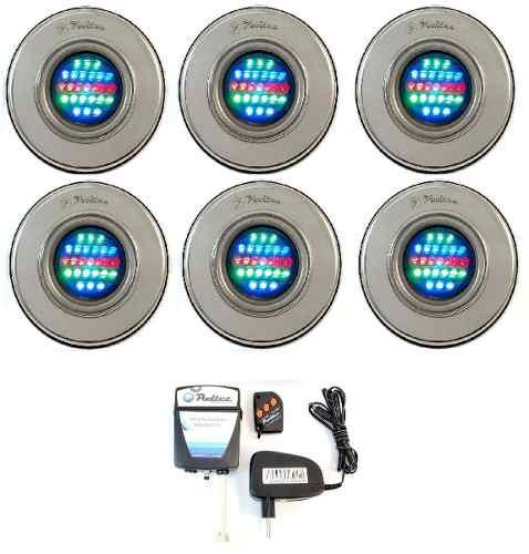 Kit Iluminação Piscina 6 Refletor Led 25 Colorido + Comando