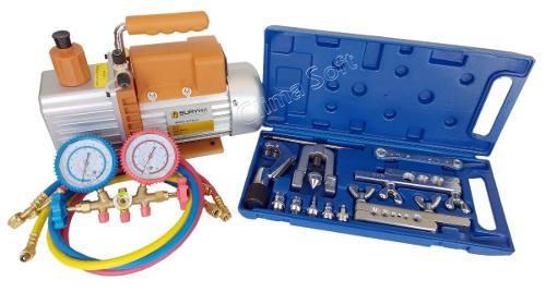 Kit Ferramentas para Refrigeração com Bomba Vácuo 8 Cfm Suryha + Manifold Vulkan R-22, R-134, R-12, R-404 + Kit Flangeador e Alargador com Cortador de Tubos e Catraca Vulcan VLCH-278L