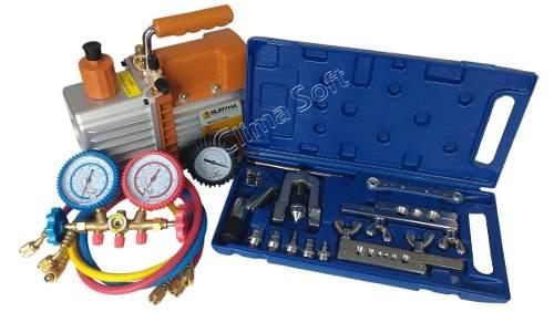 Kit Ferramentas para Refrigeração com Bomba Vácuo 5 Cfm Suryha Duplo Estágio + Manifold Vulkan R-22, R-134, R-12, R-404 + Kit Flangeador e Alargador com Cortador de Tubos e Catraca Vulcan VLCH-278L