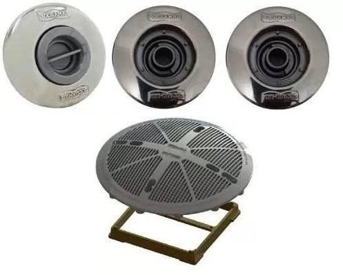 Kit 1 Dispositivo de Aspiração 2 Retorno e 1 Dreno / Ralo  15 x 15 para Piscina de Alvenaria Sodramar