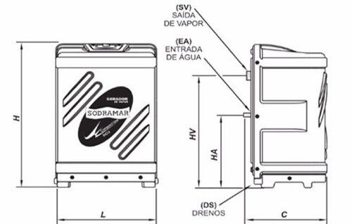 Gerador Vapor Sauna Sodramar 6 Kw + Quadro Digital+ Kit Instalação e Luminária