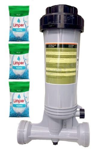Dosador De Cloro Automatico Piscinas Fluidra + 3 Pastilhas Limper
