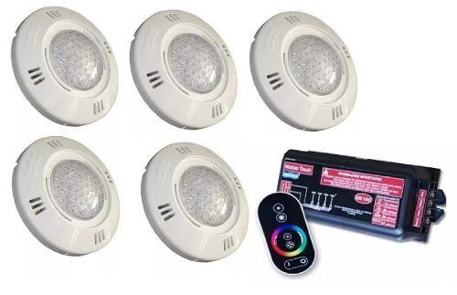 Kit Iluminação Para Piscina 5 Refletor Led Smd 9 Watts Sodramar + Comando com Controle Touch