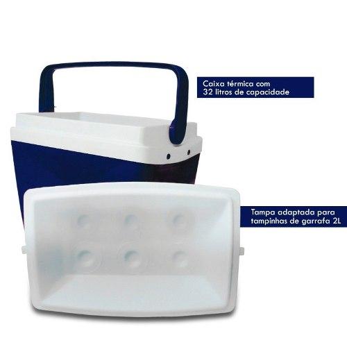 Caixa Térmica Cooler Azul 32 Litros Com Alça