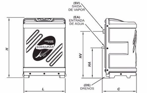 Gerador Vapor Para Sauna Sodramar 12 Kw Aço Inox + Quadro de Comando Analógico