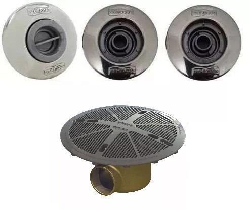 Kit 1 Dispositivo De Aspiração 2 Retorno Pratic Inox E 1 Dreno Anti Turbilhão Sodramar