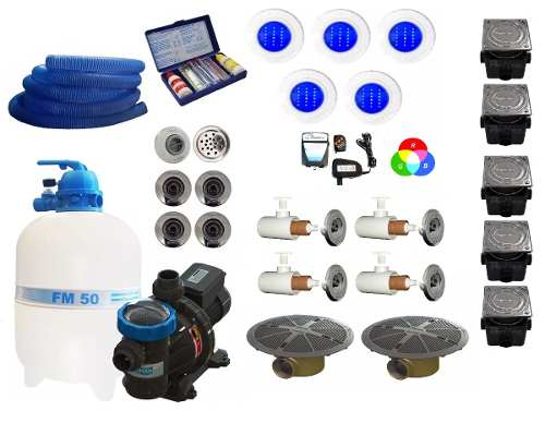 Kit Completo Para Piscina Fm 50 + Bomba 3/4 Cv Sodramar Iluminação e Dispositivos Pratic Inox
