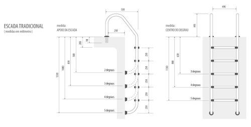Escada Para Piscina Em Aço Inox Com 3 Degraus Inox Removivel