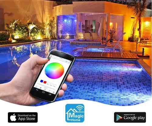 Kit 5 Led Piscina 9w Rgb + Comando Four Fix Wifi Sodramar