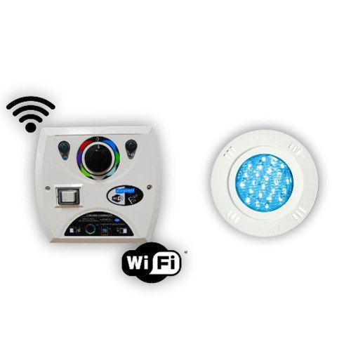 Kit 1 Led Piscina 9w Rgb + Comando Four Fix Wifi Sodramar