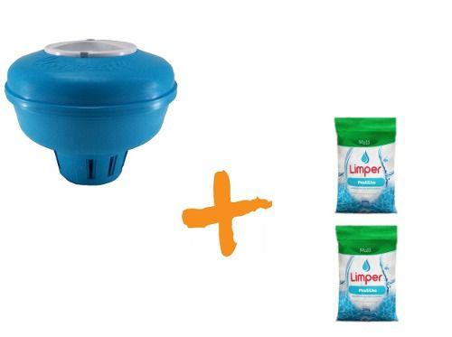 Clorador Flutuante Para Piscina + 02 Pastilha De Cloro 200g Limper